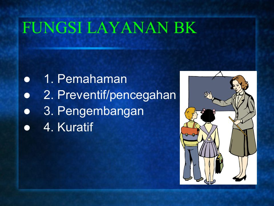 FUNGSI LAYANAN BK 1. Pemahaman 2. Preventif/pencegahan 3. Pengembangan