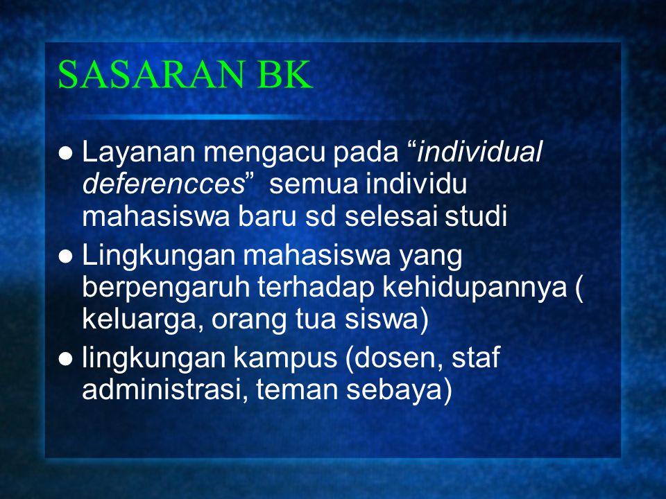 SASARAN BK Layanan mengacu pada individual deferencces semua individu mahasiswa baru sd selesai studi.