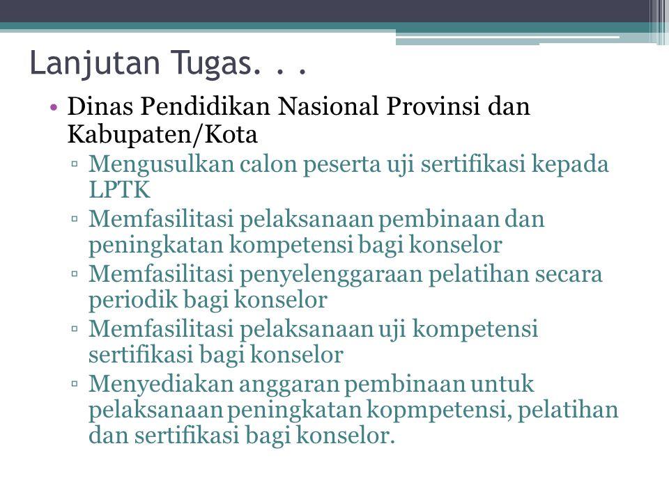 Lanjutan Tugas. . . Dinas Pendidikan Nasional Provinsi dan Kabupaten/Kota. Mengusulkan calon peserta uji sertifikasi kepada LPTK.
