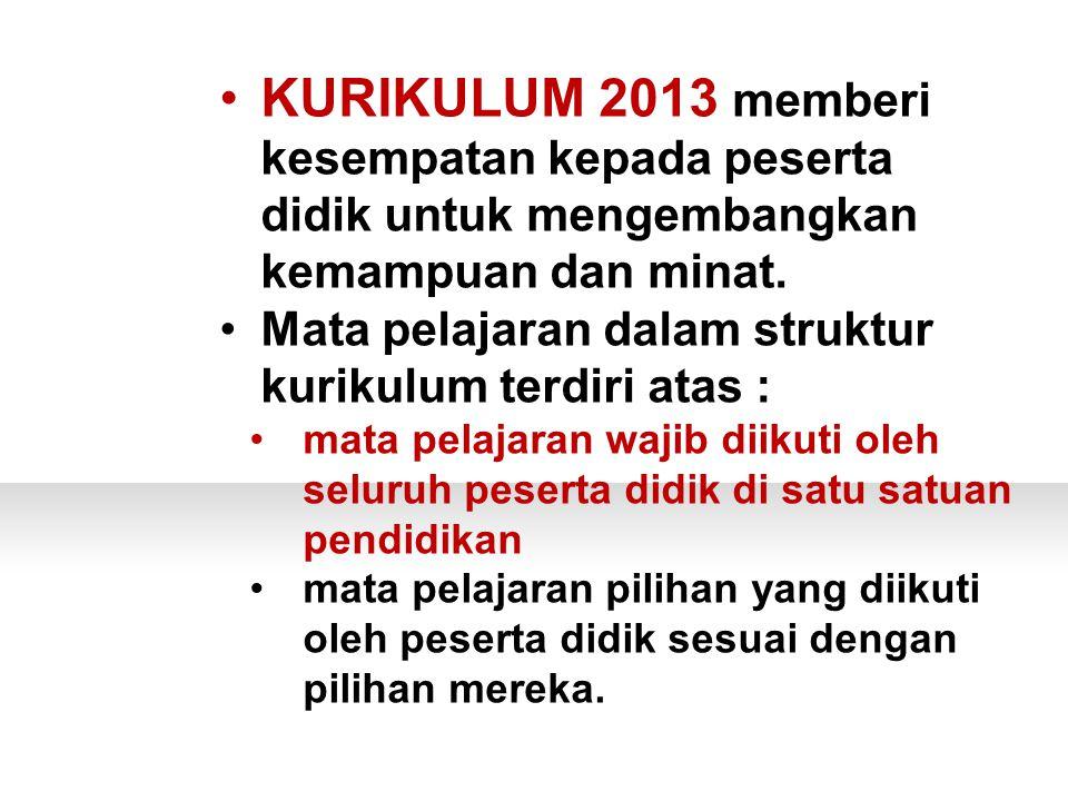 KURIKULUM 2013 memberi kesempatan kepada peserta didik untuk mengembangkan kemampuan dan minat.