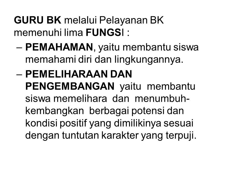 GURU BK melalui Pelayanan BK memenuhi lima FUNGSI :