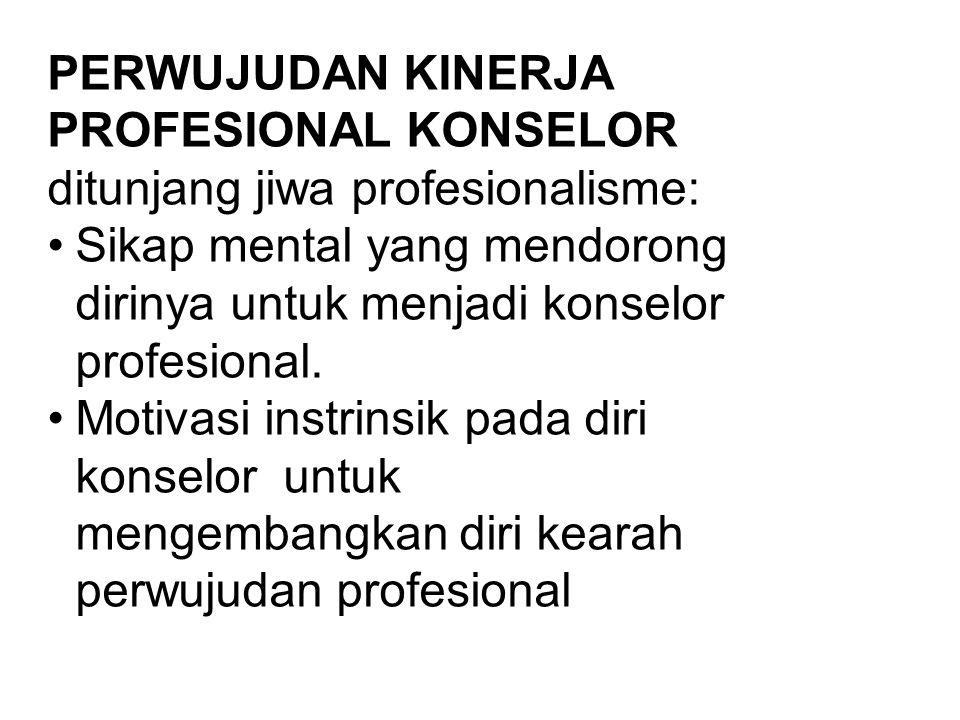 PERWUJUDAN KINERJA PROFESIONAL KONSELOR ditunjang jiwa profesionalisme: