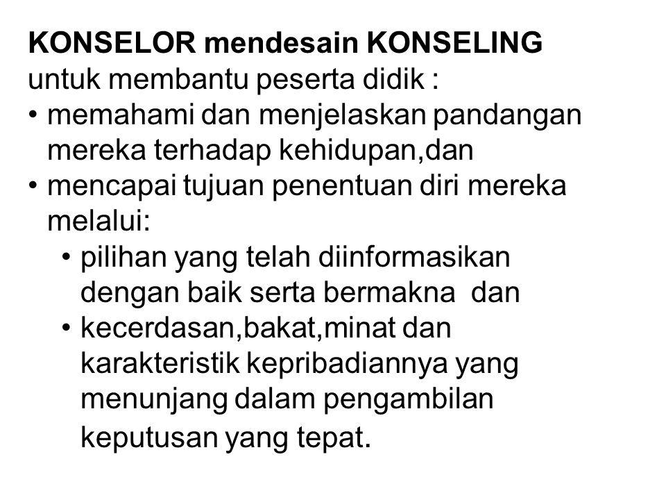 KONSELOR mendesain KONSELING untuk membantu peserta didik :