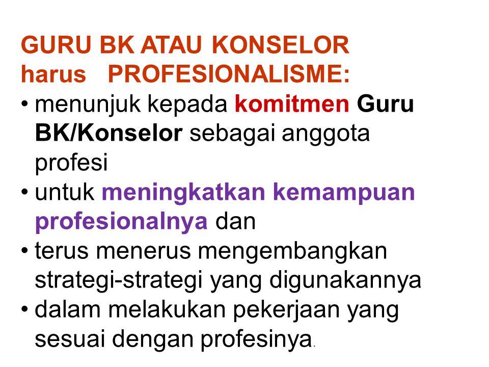 GURU BK ATAU KONSELOR harus PROFESIONALISME: