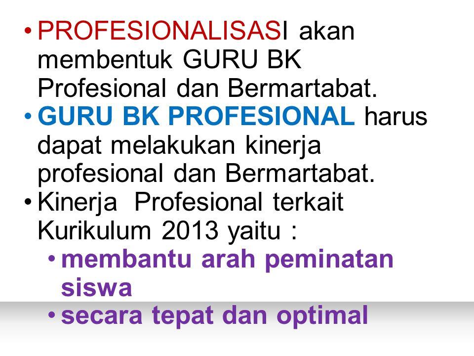 PROFESIONALISASI akan membentuk GURU BK Profesional dan Bermartabat.