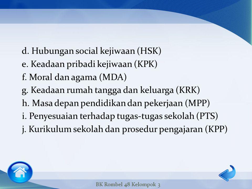 d. Hubungan social kejiwaan (HSK) e. Keadaan pribadi kejiwaan (KPK) f