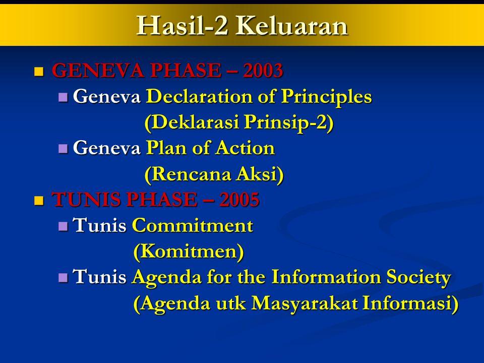 Hasil-2 Keluaran GENEVA PHASE – 2003 Geneva Declaration of Principles