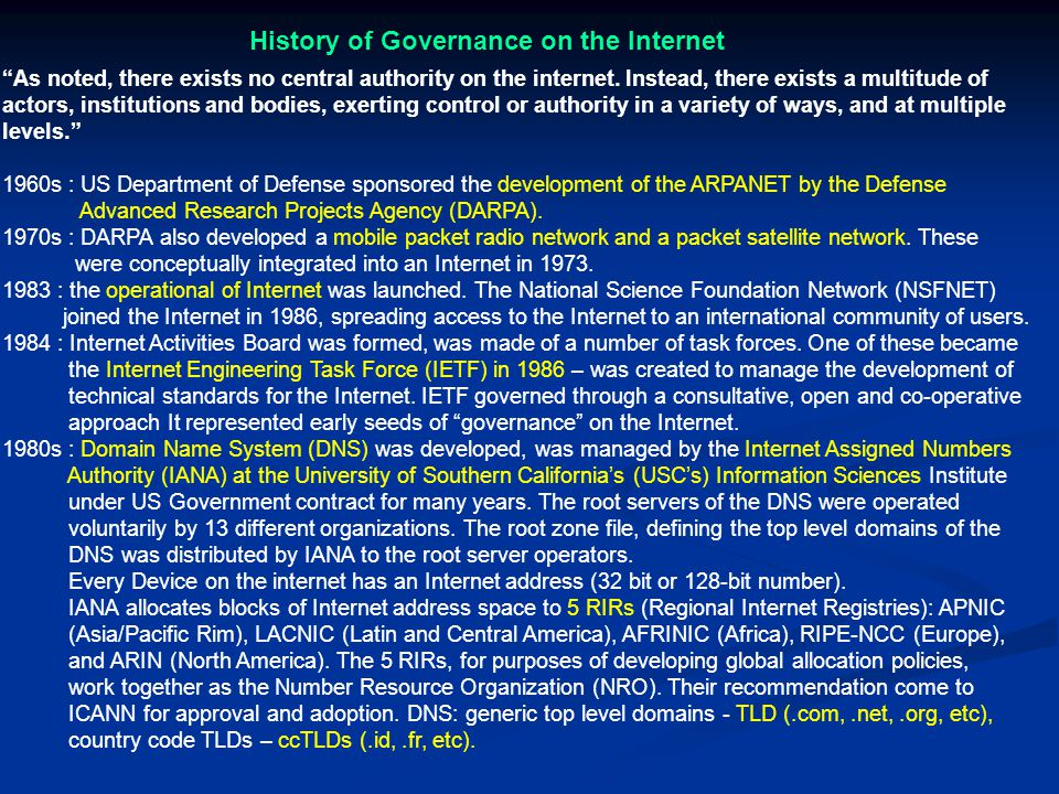 History of Governance on the Internet