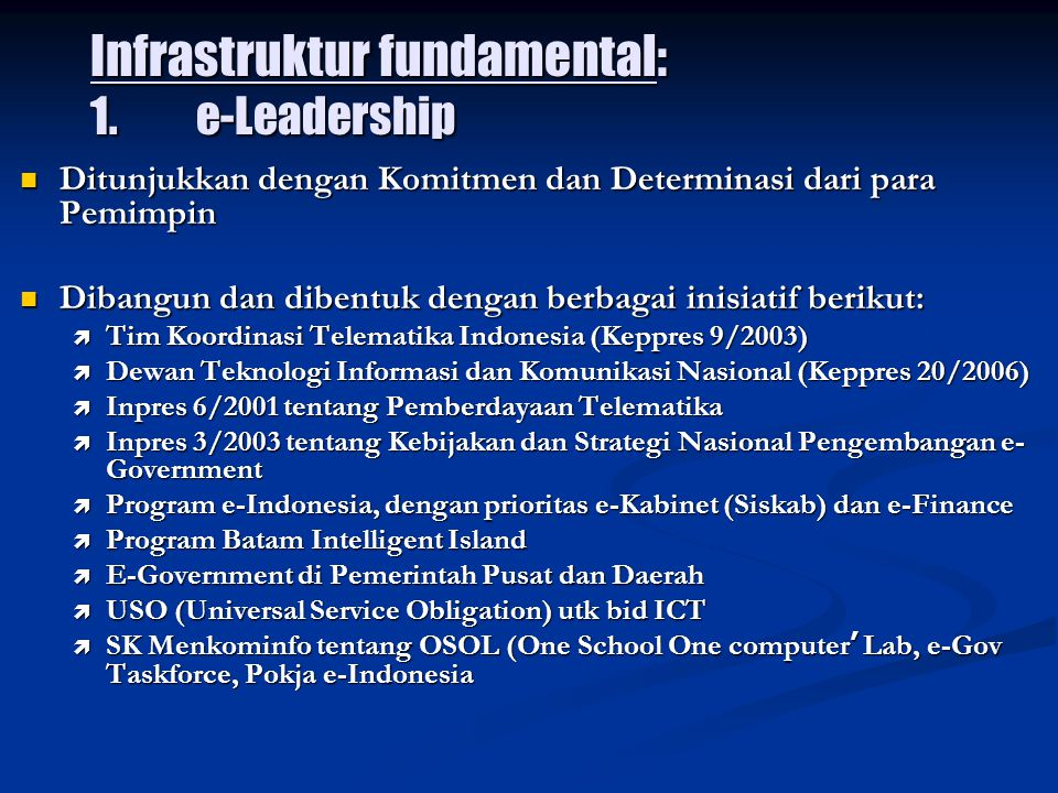 Infrastruktur fundamental: 1. e-Leadership