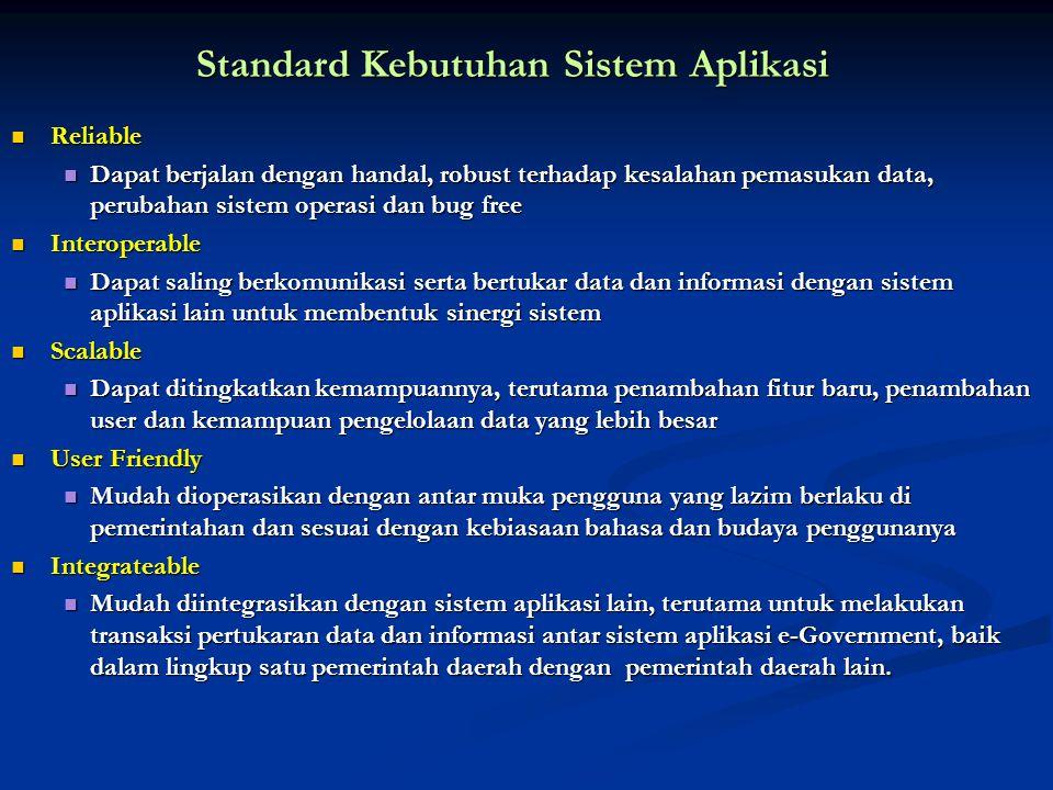 Standard Kebutuhan Sistem Aplikasi