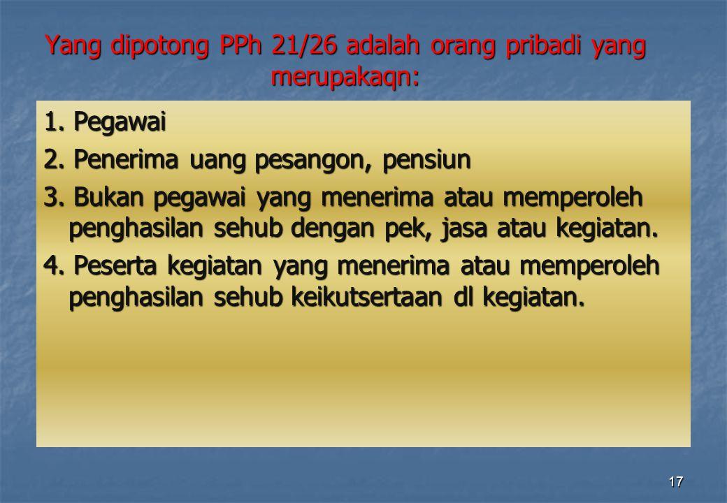 Yang dipotong PPh 21/26 adalah orang pribadi yang merupakaqn: