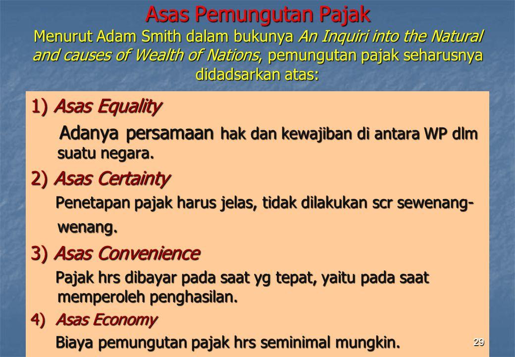 Asas Pemungutan Pajak Menurut Adam Smith dalam bukunya An Inquiri into the Natural and causes of Wealth of Nations, pemungutan pajak seharusnya didadsarkan atas: