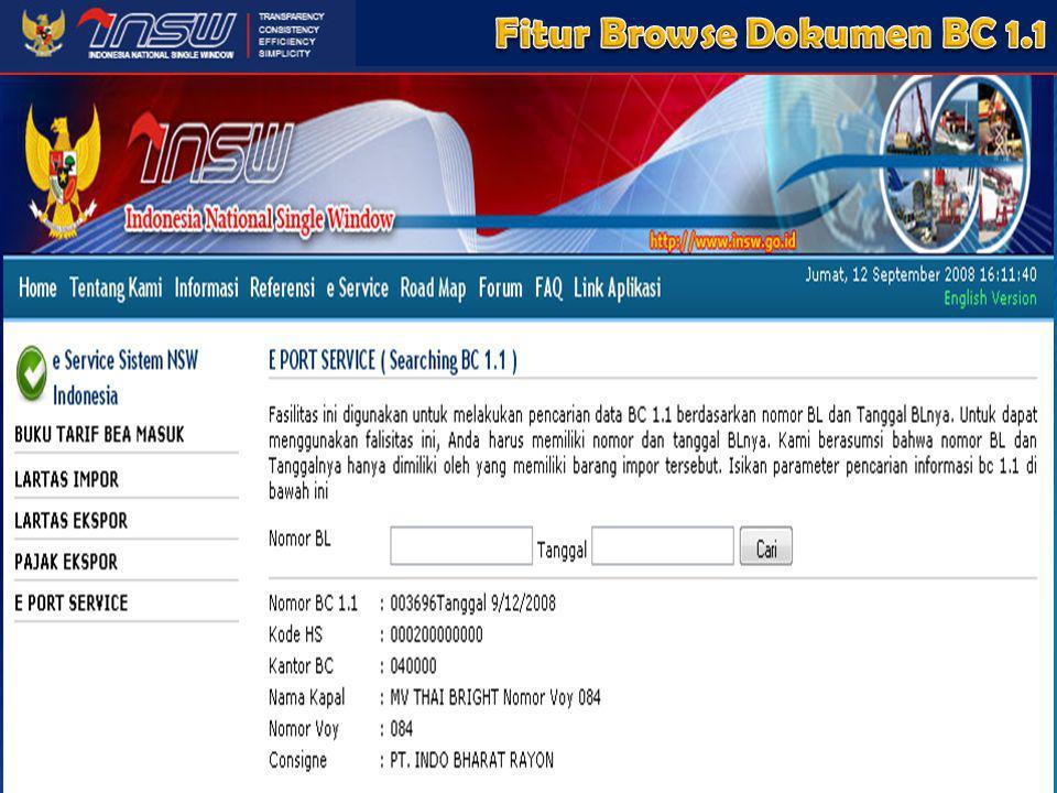 Fitur Browse Dokumen BC 1.1