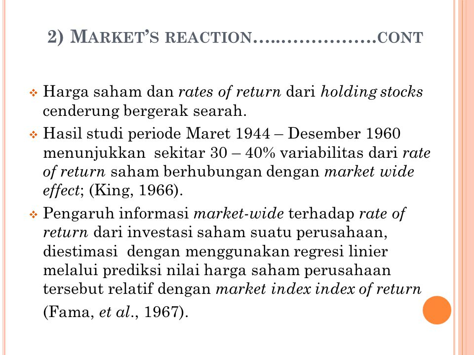 2) Market's reaction…..…………….cont