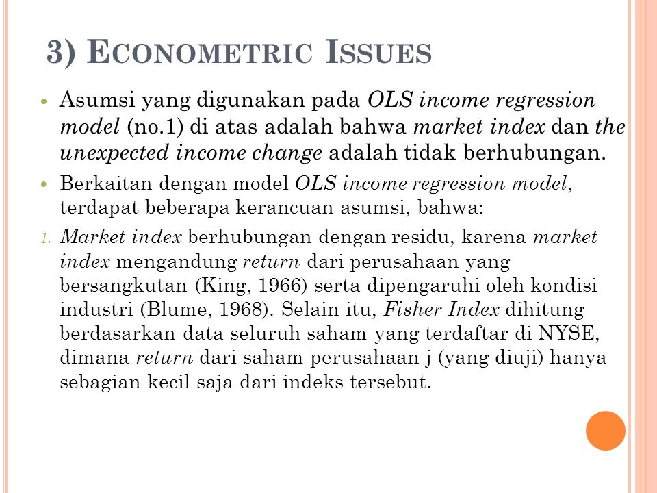 3) Econometric Issues