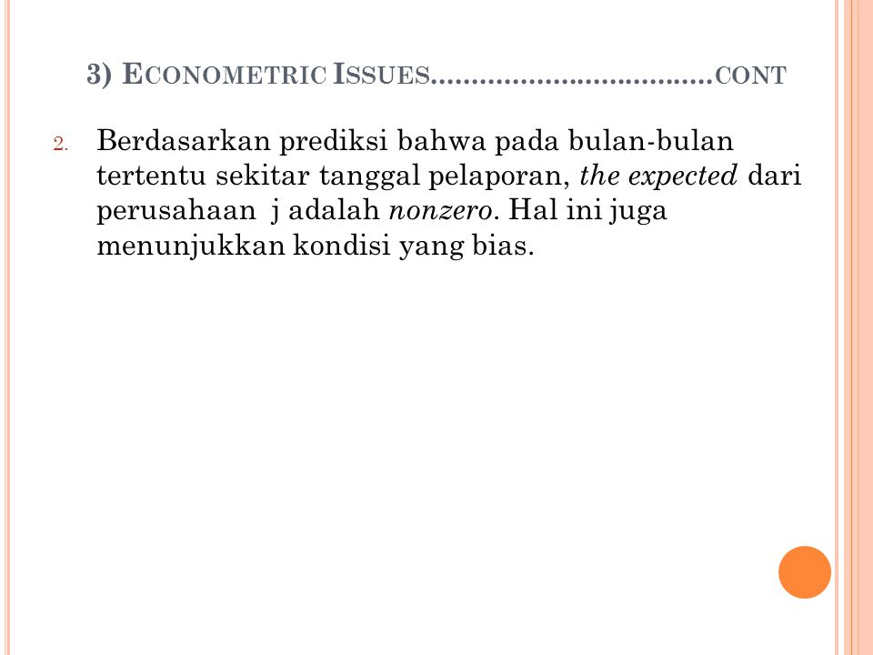 3) Econometric Issues...................................cont