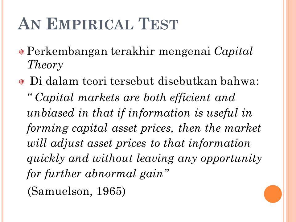 An Empirical Test Perkembangan terakhir mengenai Capital Theory