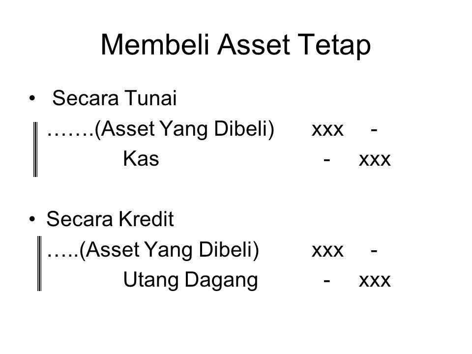 Membeli Asset Tetap Secara Tunai …….(Asset Yang Dibeli) xxx -