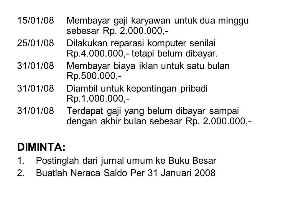 15/01/08. Membayar gaji karyawan untuk dua minggu. sebesar Rp. 2. 000