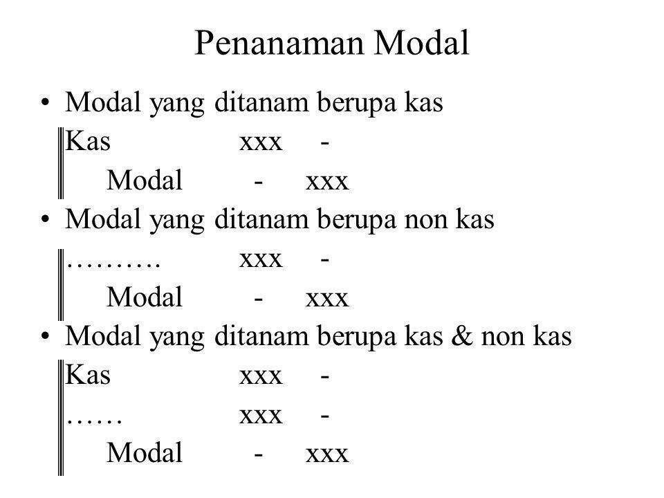 Penanaman Modal Modal yang ditanam berupa kas Kas xxx - Modal - xxx