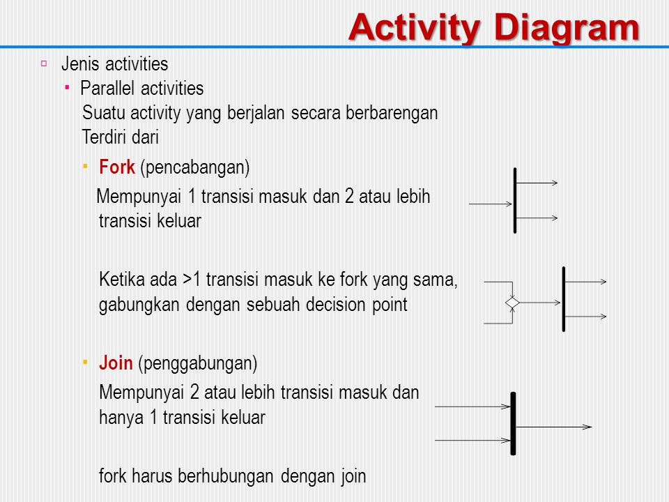 Activity Diagram Jenis activities Parallel activities