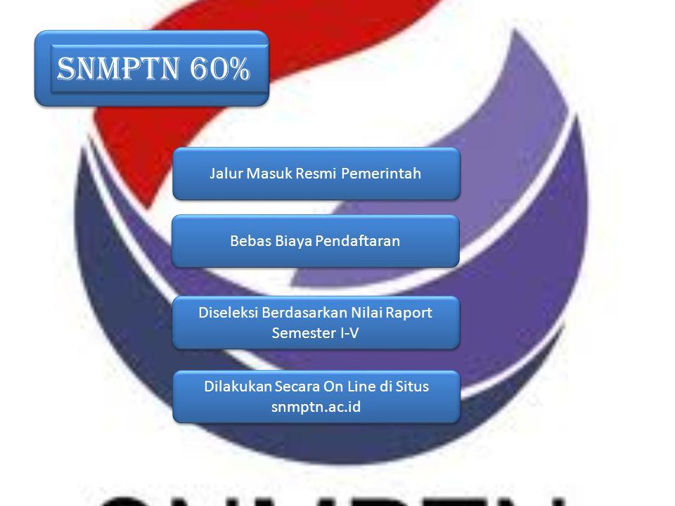 SNMPTN 60% Jalur Masuk Resmi Pemerintah Bebas Biaya Pendaftaran