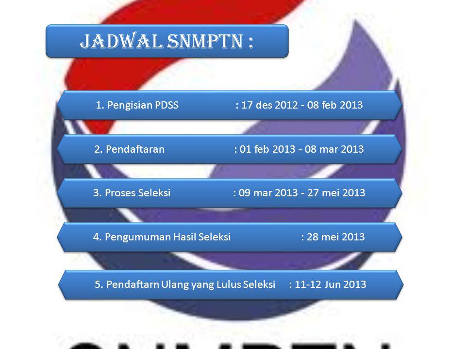 Jadwal SNMPTN : 1. Pengisian PDSS : 17 des 2012 - 08 feb 2013