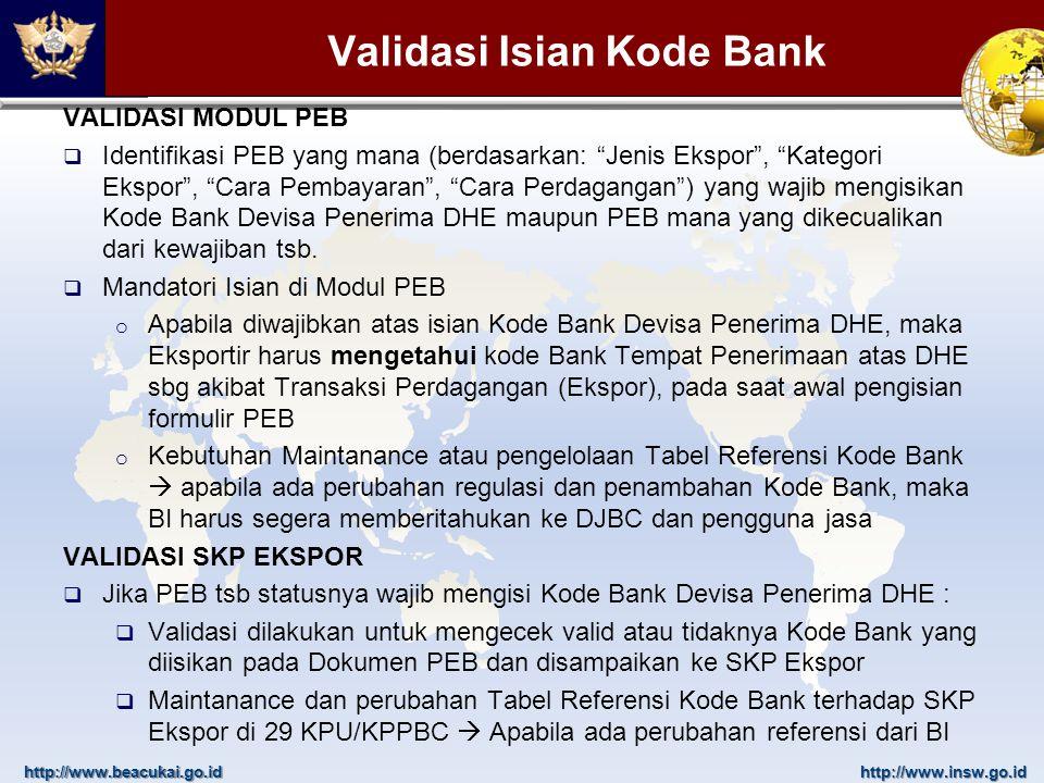 Validasi Isian Kode Bank