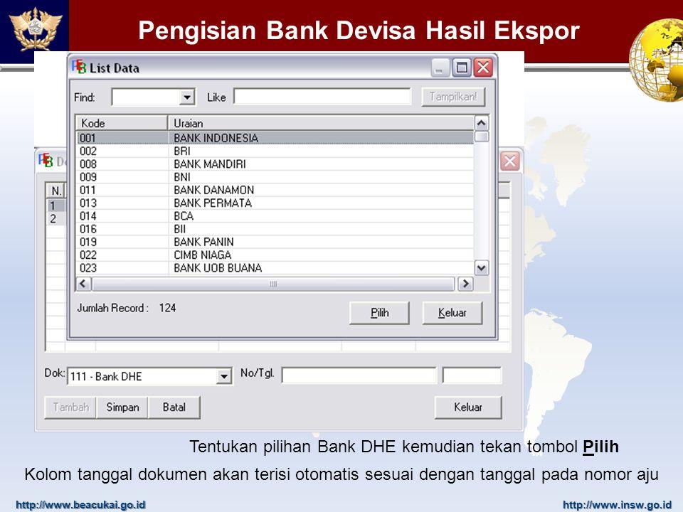 Pengisian Bank Devisa Hasil Ekspor