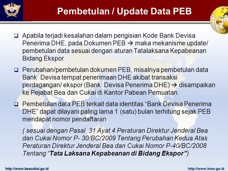 Pembetulan / Update Data PEB