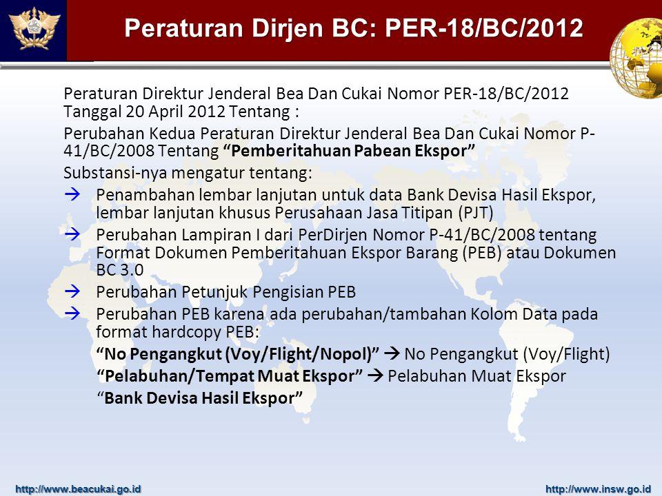 Peraturan Dirjen BC: PER-18/BC/2012