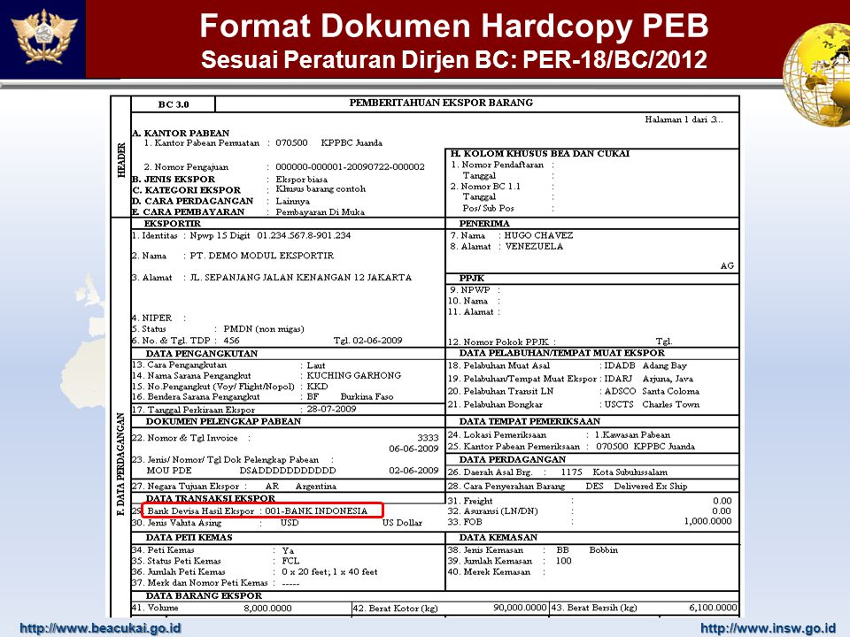 Format Dokumen Hardcopy PEB Sesuai Peraturan Dirjen BC: PER-18/BC/2012