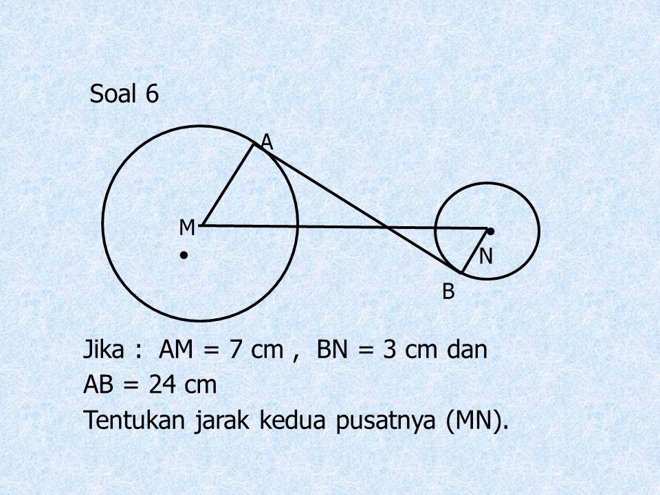 Tentukan jarak kedua pusatnya (MN).