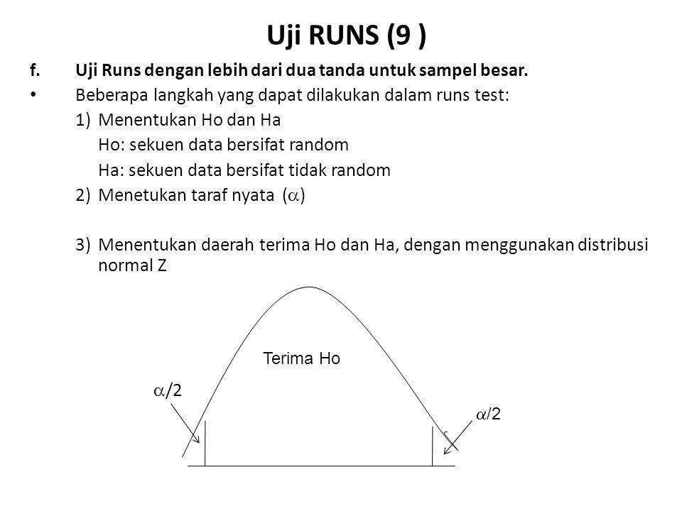 Uji RUNS (9 ) f. Uji Runs dengan lebih dari dua tanda untuk sampel besar. Beberapa langkah yang dapat dilakukan dalam runs test: