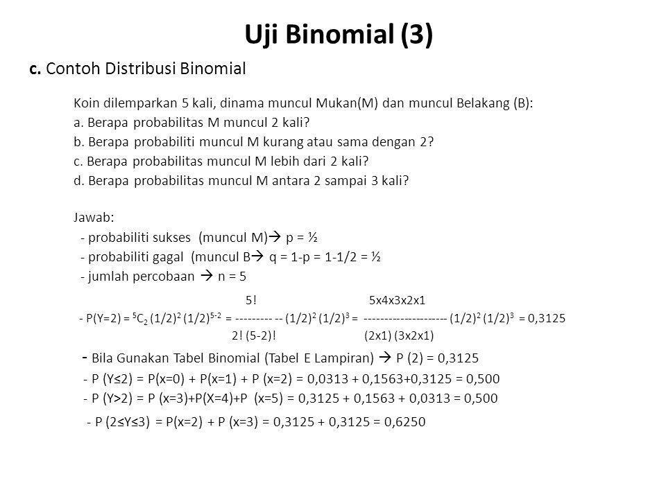 Uji Binomial (3) c. Contoh Distribusi Binomial 5! 5x4x3x2x1