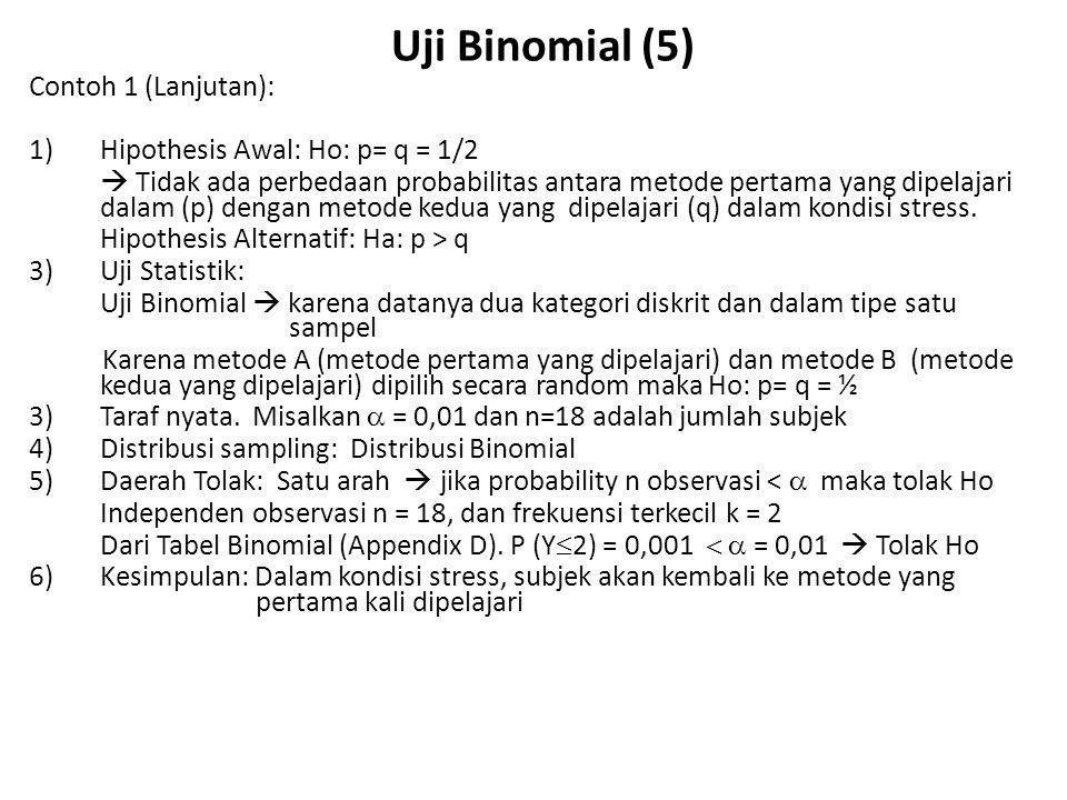 Uji Binomial (5) Contoh 1 (Lanjutan):
