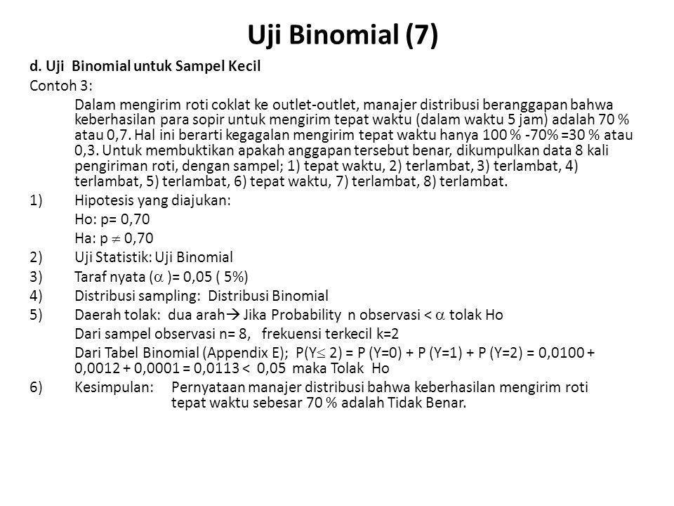 Uji Binomial (7) d. Uji Binomial untuk Sampel Kecil Contoh 3: