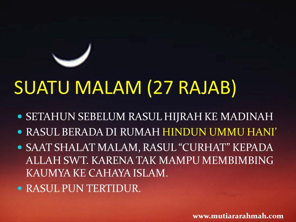 SUATU MALAM (27 RAJAB) SETAHUN SEBELUM RASUL HIJRAH KE MADINAH