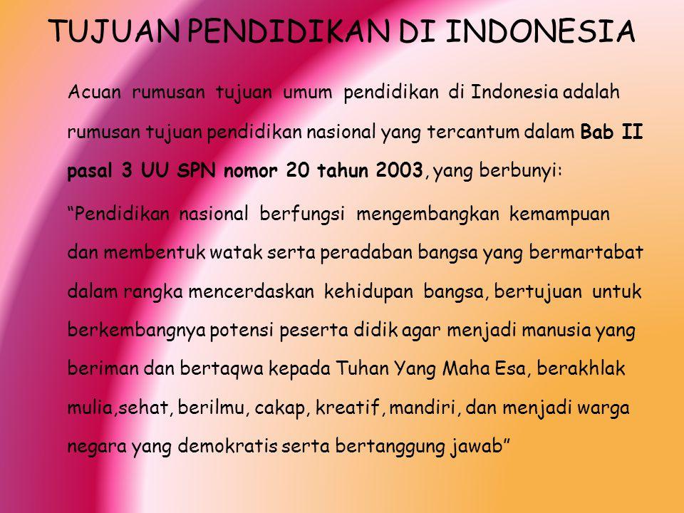 TUJUAN PENDIDIKAN DI INDONESIA