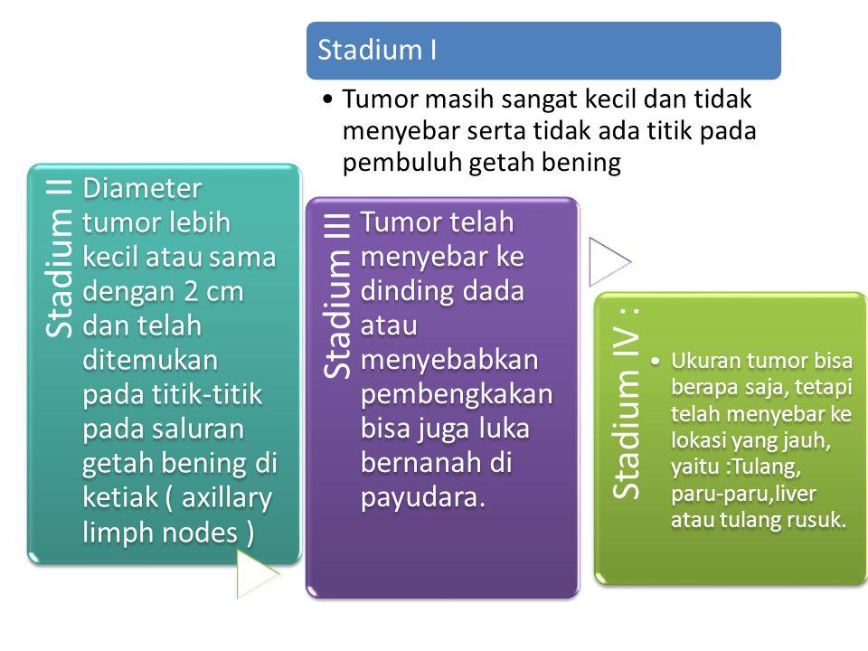 Stadium I Tumor masih sangat kecil dan tidak menyebar serta tidak ada titik pada pembuluh getah bening.
