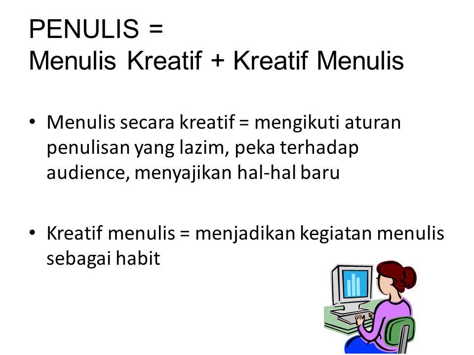 PENULIS = Menulis Kreatif + Kreatif Menulis