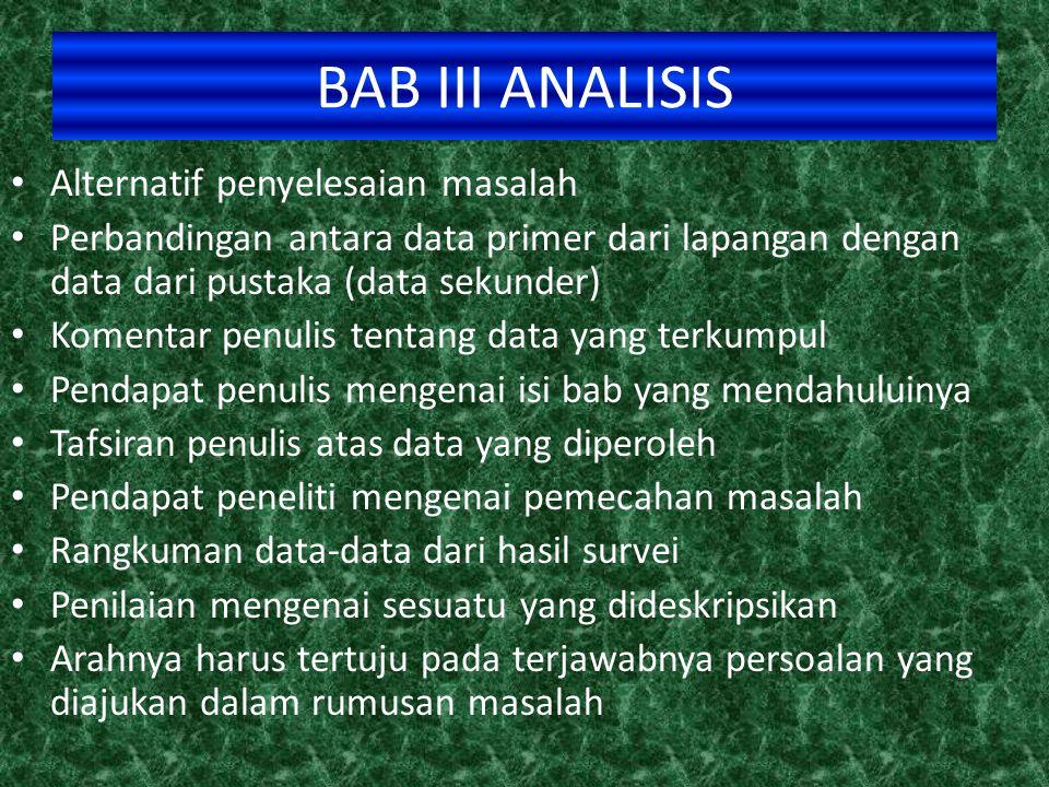 BAB III ANALISIS Alternatif penyelesaian masalah
