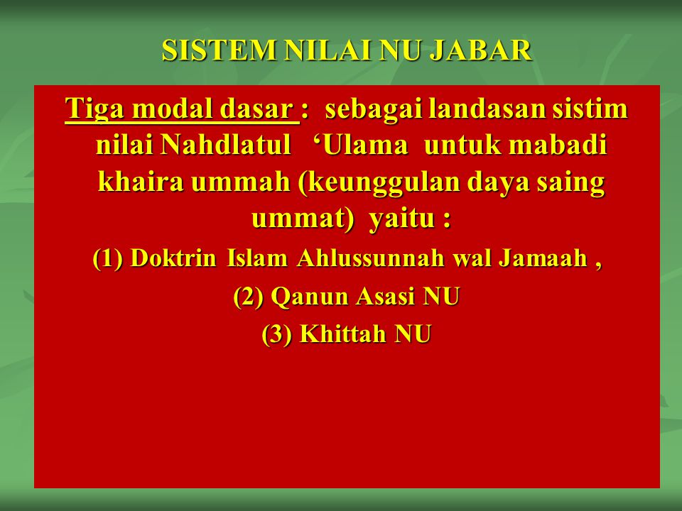 (1) Doktrin Islam Ahlussunnah wal Jamaah ,