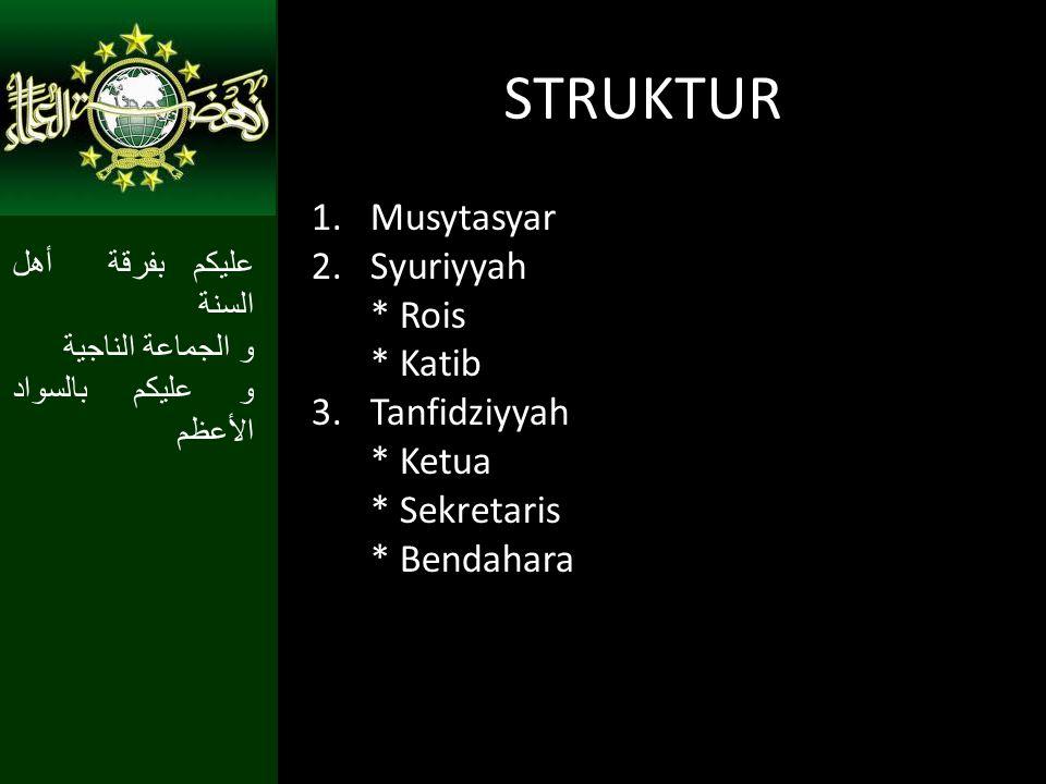STRUKTUR Musytasyar Syuriyyah * Rois * Katib Tanfidziyyah * Ketua
