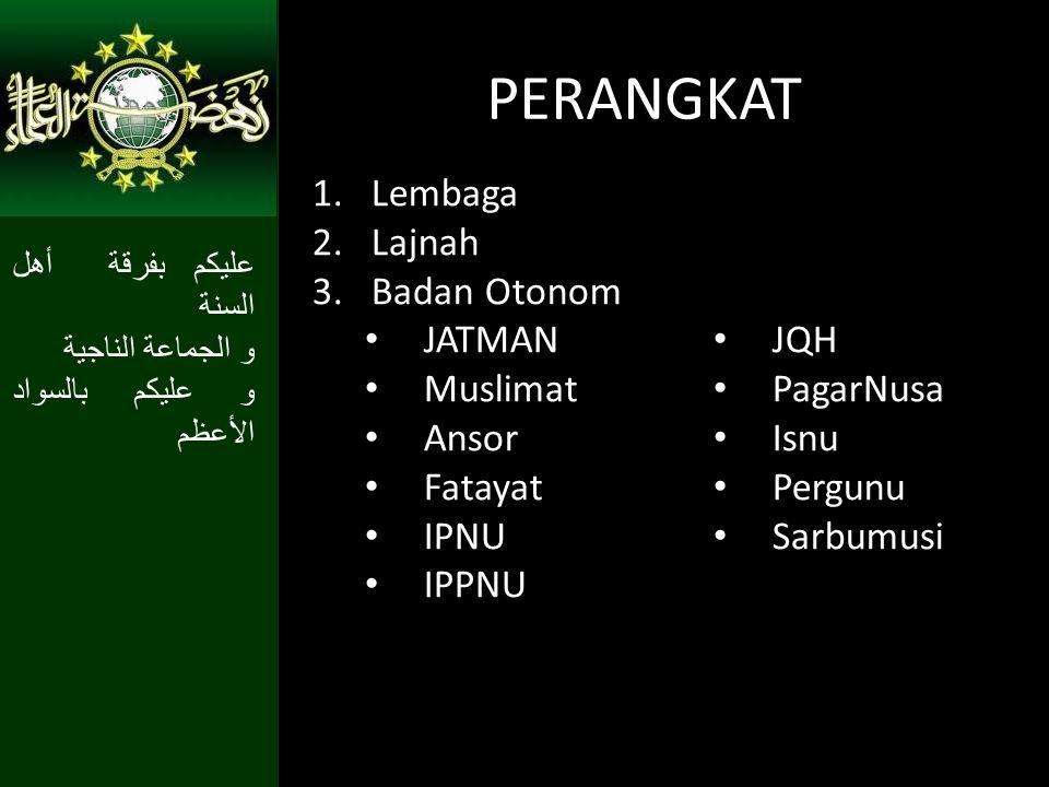 PERANGKAT Lembaga Lajnah Badan Otonom JATMAN JQH Muslimat PagarNusa