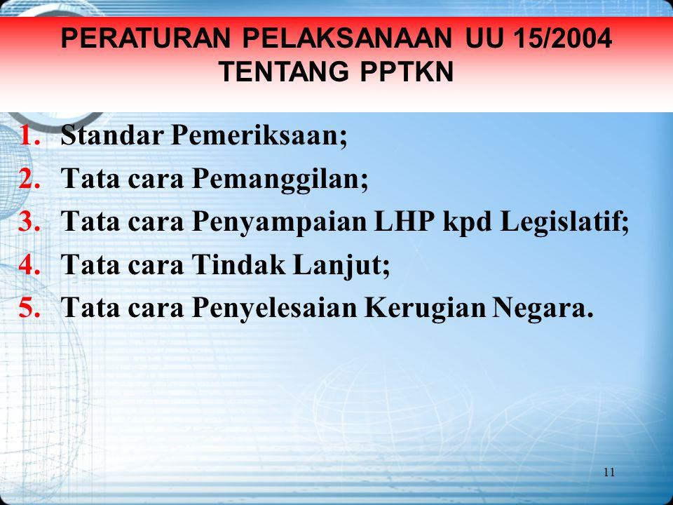 PERATURAN PELAKSANAAN UU 15/2004 TENTANG PPTKN