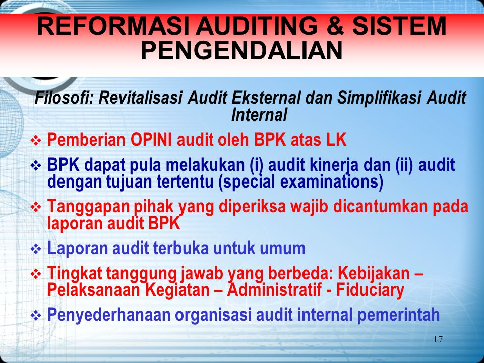 REFORMASI AUDITING & SISTEM PENGENDALIAN