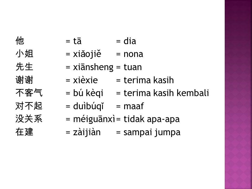 他 = tā = dia 小姐 = xiǎojiě = nona 先生 = xiānsheng = tuan 谢谢 = xièxie = terima kasih 不客气 = bú kèqi = terima kasih kembali 对不起 = duìbúqǐ = maaf 没关系 = méiguānxì = tidak apa-apa 在建 = zàijiàn = sampai jumpa