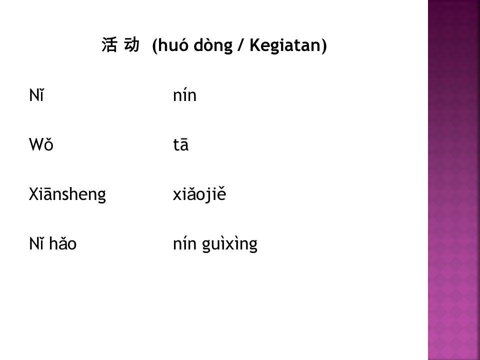 活 动 (huó dòng / Kegiatan) Nǐ nín Wǒ tā Xiānsheng xiǎojiě Nǐ hǎo nín guìxìng