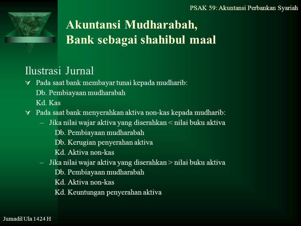 Akuntansi Mudharabah, Bank sebagai shahibul maal